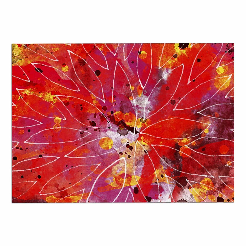 KESS InHouse Li Zamperini Flame  Red Yellow Dog Place Mat, 13  x 18