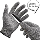 WISLIFE Cut Resistant Gloves Level 5 Protection Food Grade EN388 Certified, Safty Gloves for Hand Protection and Yard-work, Kitchen Glove for Cutting and Slicing,1 Pair (Large)