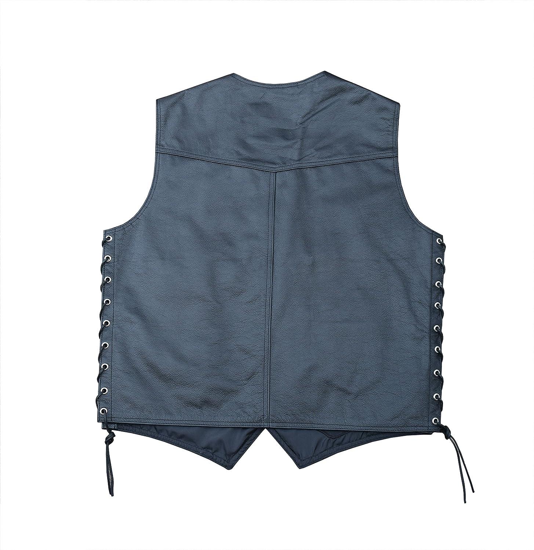 4Fit Mens Black Cowhide Leather Classic Motorcycle Side Laces Biker//Club Vest XL