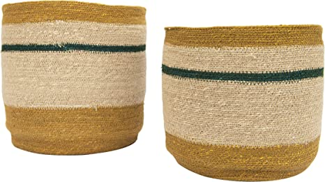 Amazon Com Creative Co Op Df2462 10 75 12 25 Handwoven Natural Seagrass Striped Set Of 2 Sizes Baskets Brown Home Kitchen