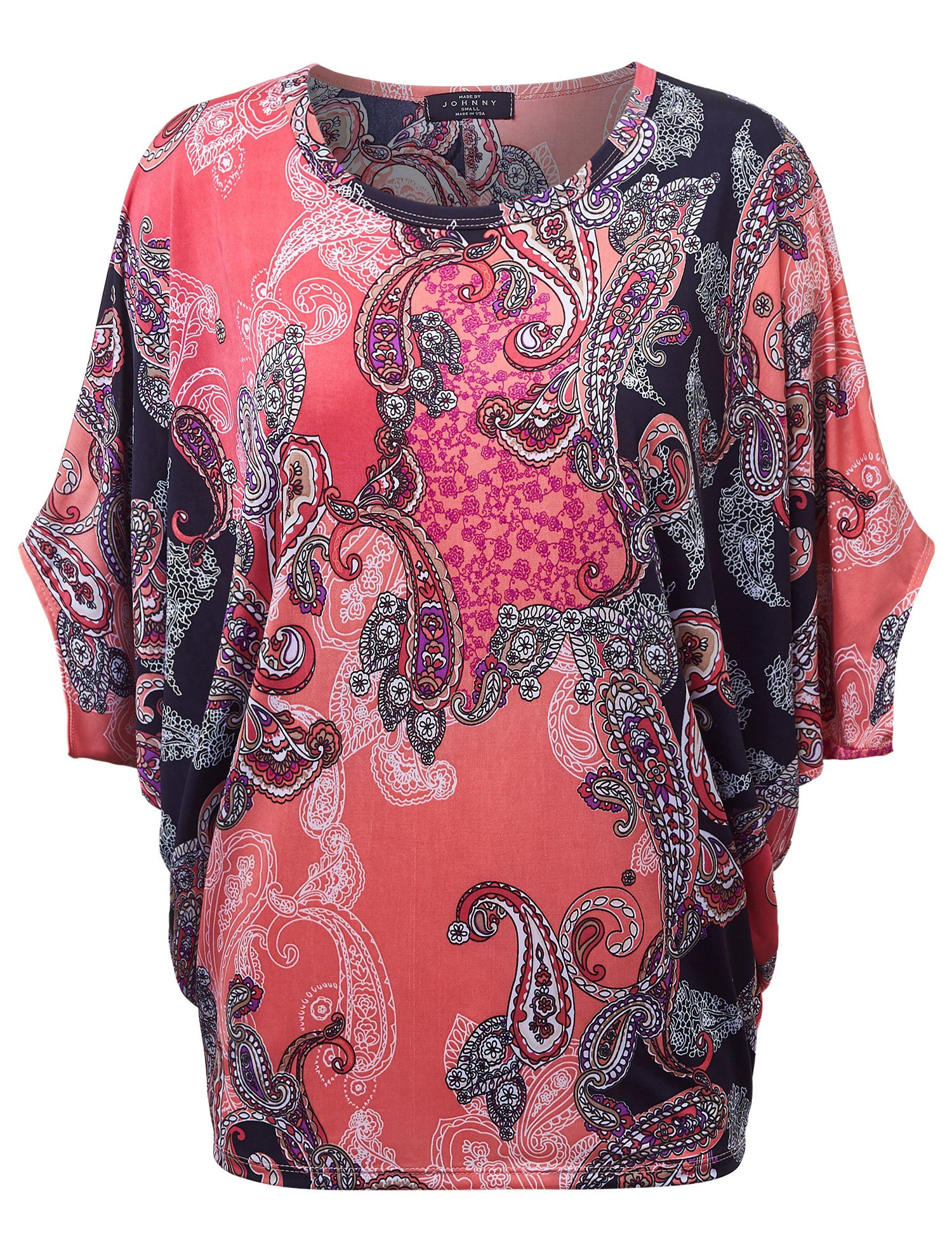 Made By Johnny MBJ Womens Round Neck 3/4 Sleeves Printed Dolman Top XXXL Black_Coral