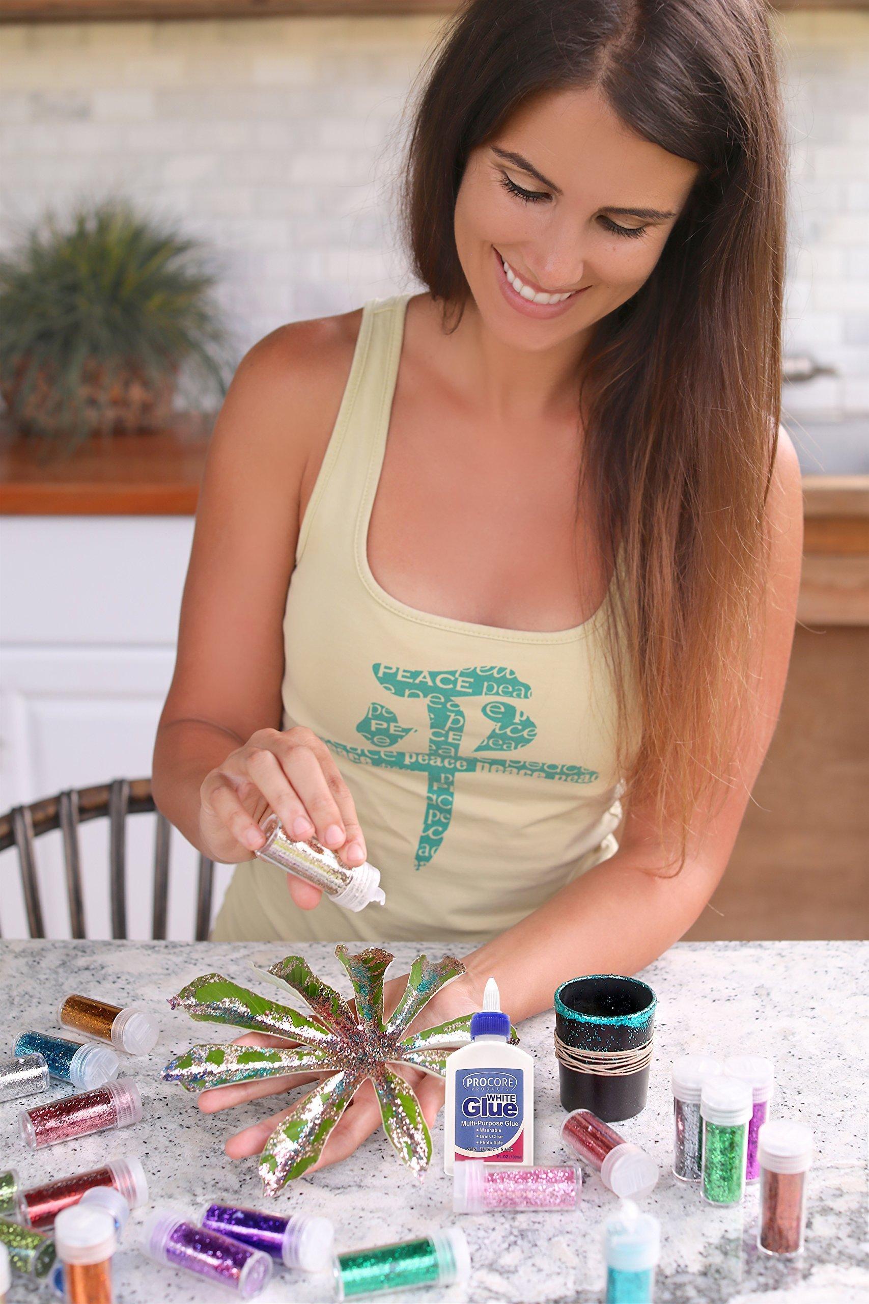 Glitter Shaker 24 Multi Colored Jar Set, Fine For Scrapbooking, Making Slime, Greeting Cards, Great For Holiday Decorations, Bonus Craft Glue Bottle