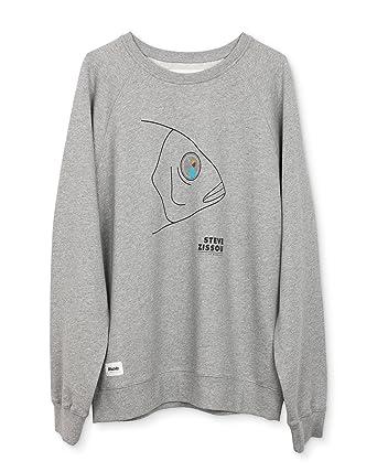 Brava Fabrics - Sudadera de Hombre - Sudadera Gris Sin Capucha - 100% Algodón - Modelo Life Aquatic: Amazon.es: Ropa y accesorios