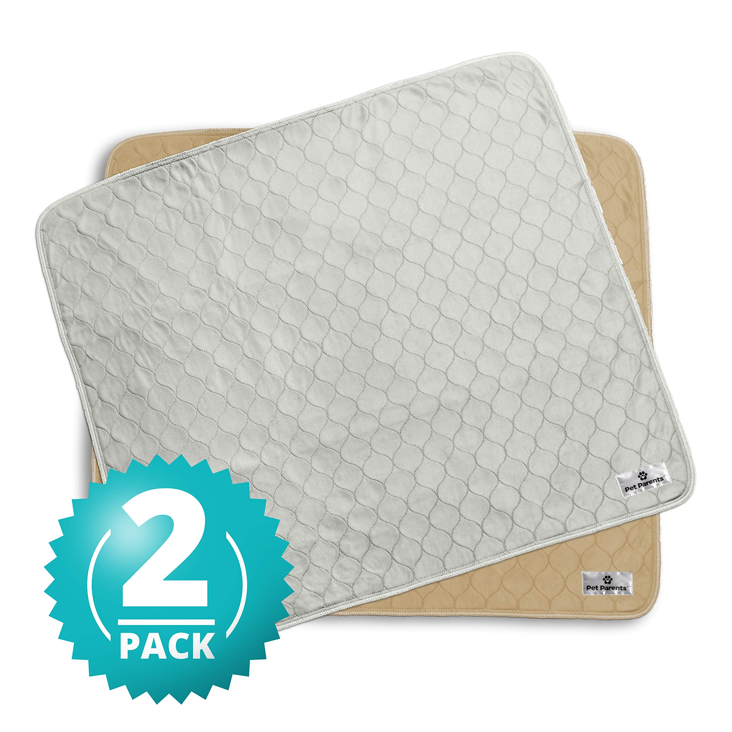 Pet Parents Washable Dog Pee Pads (2pack) of (34x36) Premium Pee Pads for Dogs, Waterproof Whelping Pads, Reusable Dog Training Pads, Quality Travel Pet Pee Pads. Modern Puppy Pads! (1 Tan & 1 Grey) by Pet Parents