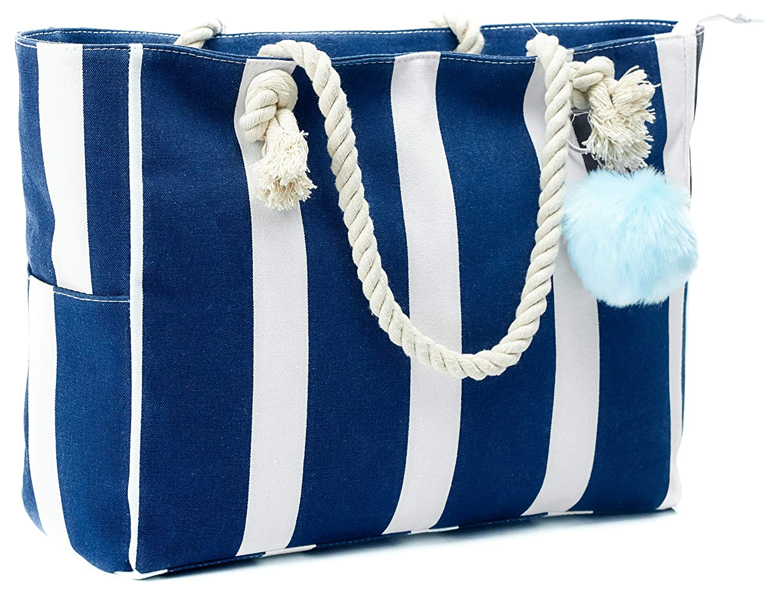 585c7efcaf3 Large Canvas Shoulder Bag - Beach Tote with Cotton Rope Handles and Cute  Pompom