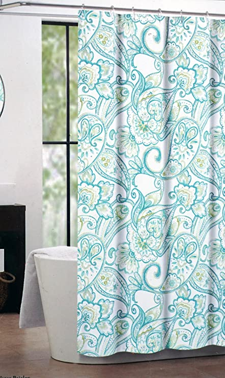 Nicole Miller Fabric Shower Curtain Blue Green Paisley Pattern On White