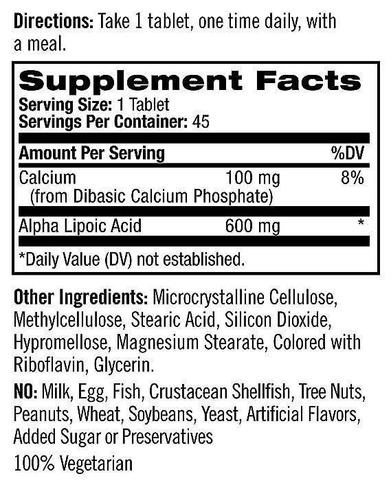 Natrol Alpha Lipoic Acid Tr 600mg Tablets, 45-Count: Amazon.es: Salud y cuidado personal