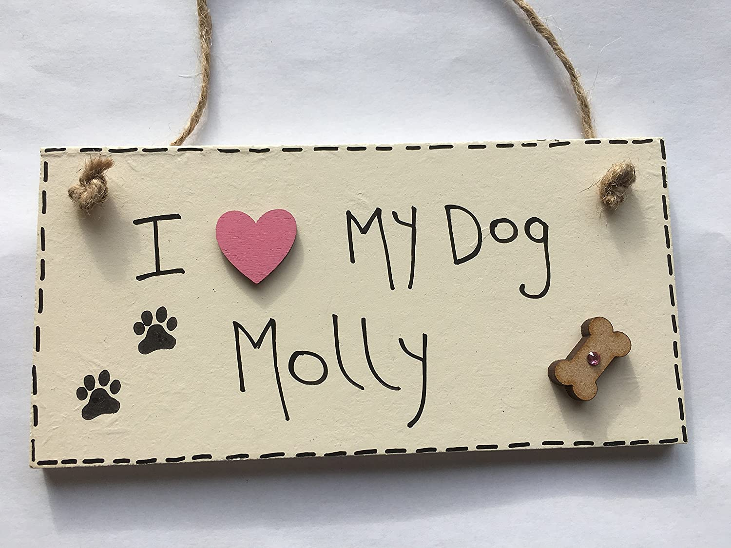 Amazon.com: MadeAt94 'I Love My Dog Molly' Cream Plaque - Personalised Dog gifts for Dog lovers: Handmade