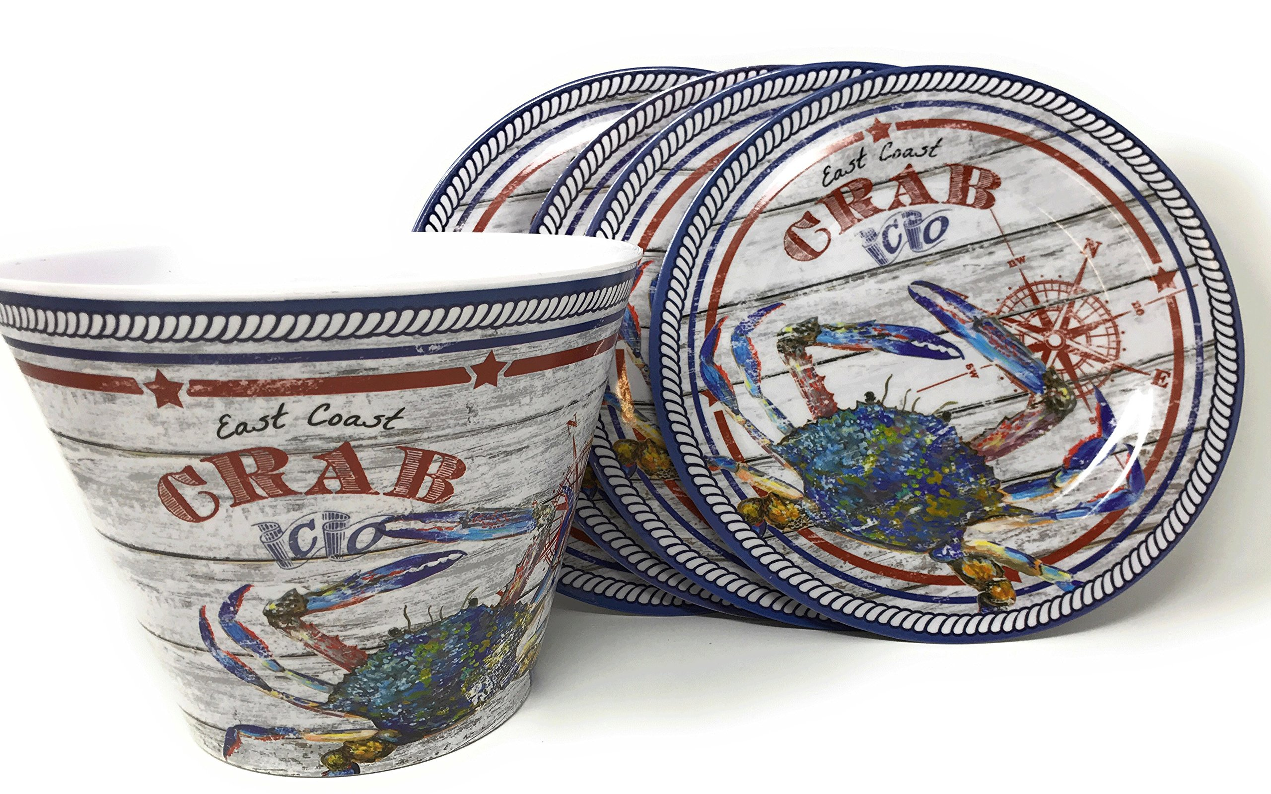 Northeast Home East Coast Crab Melamine Dinner Plates and Bucket, 5-Piece Set