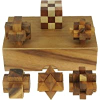 Puzzle Games (Set of 6) – 3D Brain Teaser Puzzles Solid wooden Gift Box - Fun Adults & Kids!