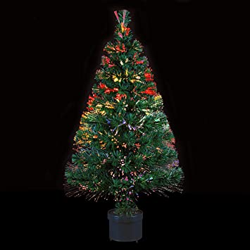 2ff932ace44 DECO NOEL - Sapin de Noël artificiel lumineux en fibre optique livré dans  son pot -