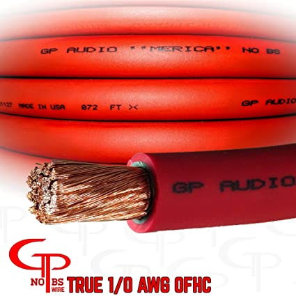 Amazon Com 15 Ft True Awg 1 0 Gauge Ofhc Red Power Wire Ground Cable Gp Car Audio Usa Made Automotive