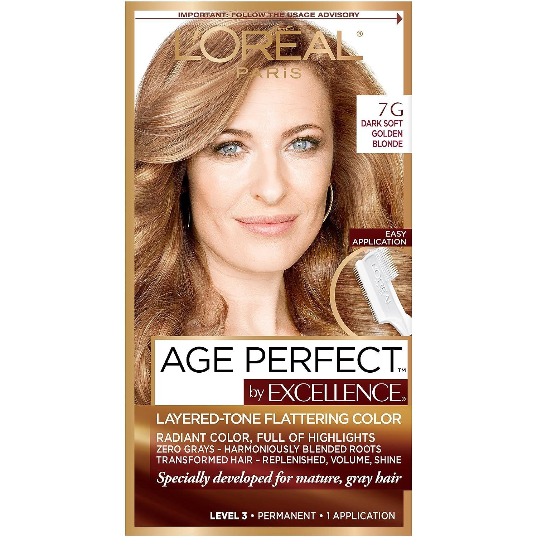 L'Oreal Paris Age Perfect Permanent Hair Color, 7G Dark Natural Golden Blonde, 1 kit