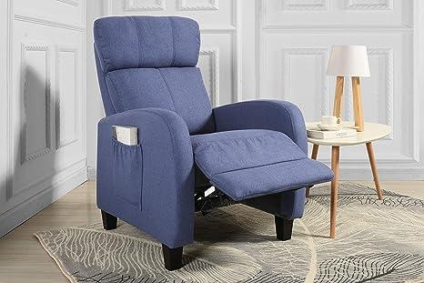 Living Room Slim Manual Recliner Chair In Linen Light Blue Denim Furniture Decor