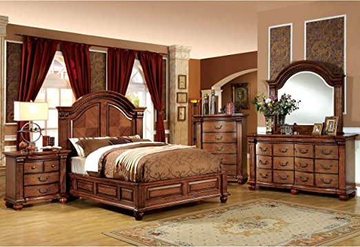 Furniture of America Traditional Style 4-Piece Antique Tobacco Oak Bedroom  Set Queen