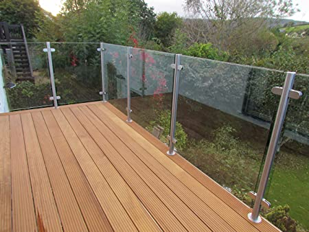 Brushed Stainless Steel 1100mm Balustrade Posts /& Toughened 10MM Glass Panels