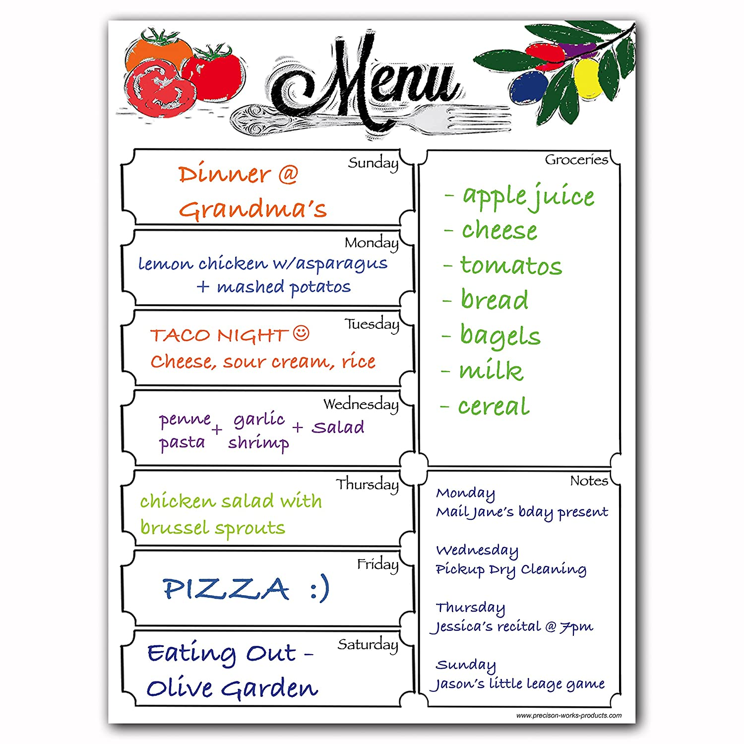 Magnetic 8 x 10 Menu Dry Erase Weekly Meal Planner Refrigerator Board With Grocery List And Notes (Faux Chalkboard Background) Precision Works
