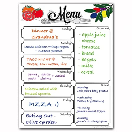 AmazonCom  Magnetic Menu Dry Erase Weekly Meal Planner Board For