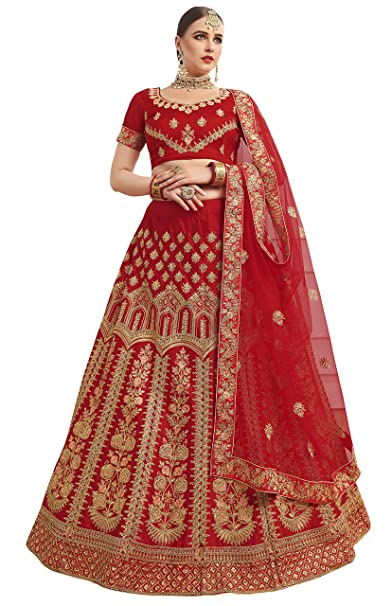 75b14f978fb Manvaa Women S Silk Embroidered Lehenga Choli In Maroon Color  Amazon.in   Clothing   Accessories