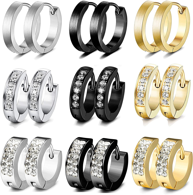 LOLIAS 9 Pairs 13MM Stainless Steel Small Hoop Earrings for Men Women Huggie Earrings CZ Inlaid