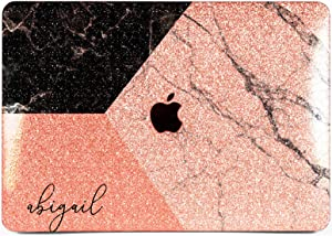 "Cavka Hard Glitter Case for Apple MacBook Pro 13"" 2019 Retina 15"" Mac Air 11"" Mac 12"" Bling Sparkly Geometry Monogram Marble Silver Print Art Rose Gold Pink Cover Glossy Design Nature Corners Shiny"