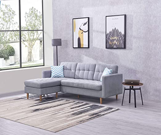 EiioX Convertible Sectional Sofa Bed L-Shaped Couch Linen Fabric for Small  Space, Mid-Century Modern Chaise Lounge for Living Room, Grey