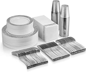 350 Piece Silver Dinnerware Set - 50 Guest Silver Lace Design Plastic Plates - 50 Silver Plastic Silverware - 50 Silver Cups - 50 Linen Like Silver Napkins, 50 Guest Disposable Silver Dinnerware Set