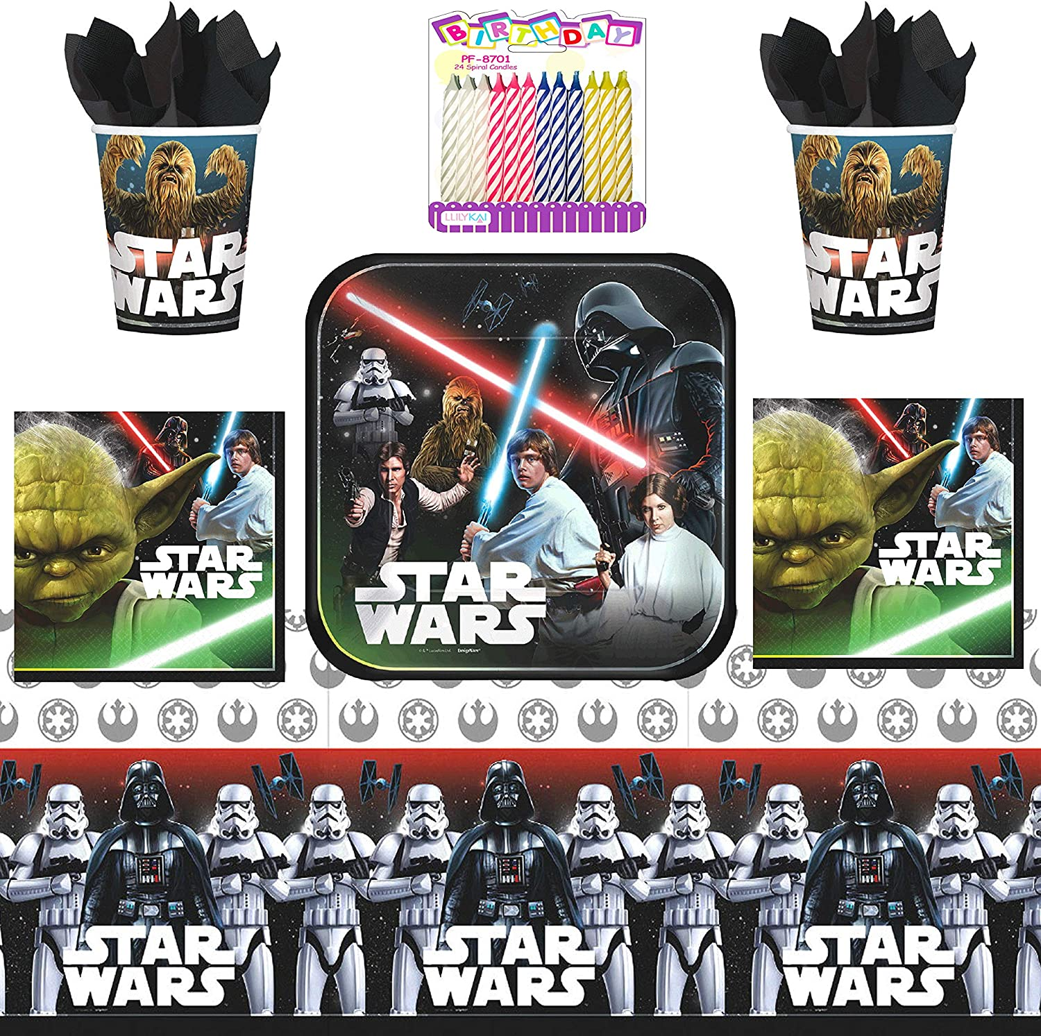 Classic Star Wars Party Supplies Pack Serves 16 Dessert Plates Beverage Napkins Cups and Table Cover with Birthday Candles