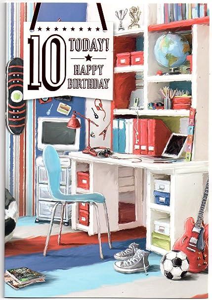 Tarjeta de cumpleaños para diez (10) años de edad niño ...