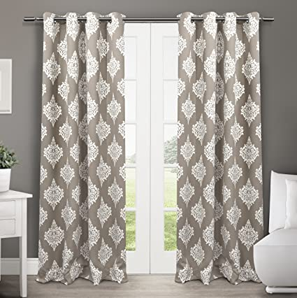 curtain room window treatments flax multicolor darkening medallion com panels grey curtains bedroom amazon dp for vintage linen