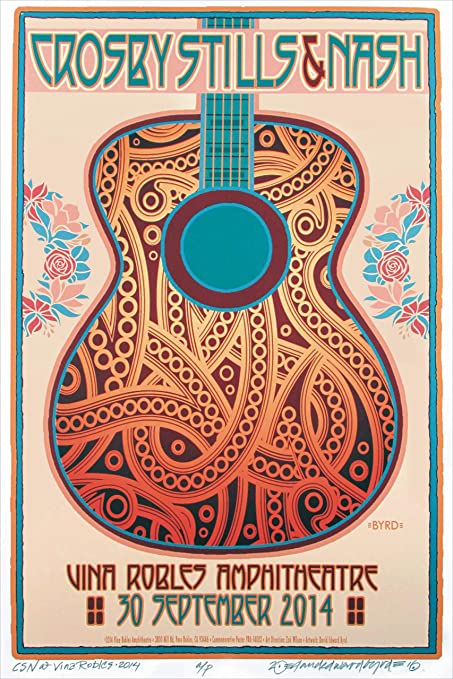 Crosby Stills Nash & Young 2014 Concert Poster Rock Band 13x19 Classic  Vintage Old Music