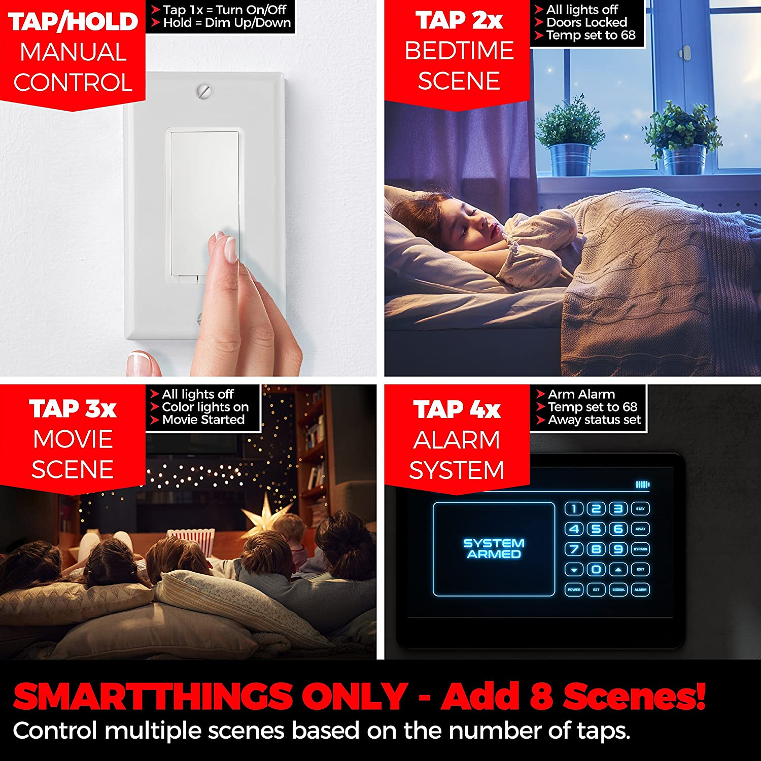 Z Wave Dimmer Switch Repeater Scene Enabled Acts As Button For Ge Zwave 3 Way Auxliary Kit Installation Samsung Smartthings Plus Only Other Hubs Inovelli