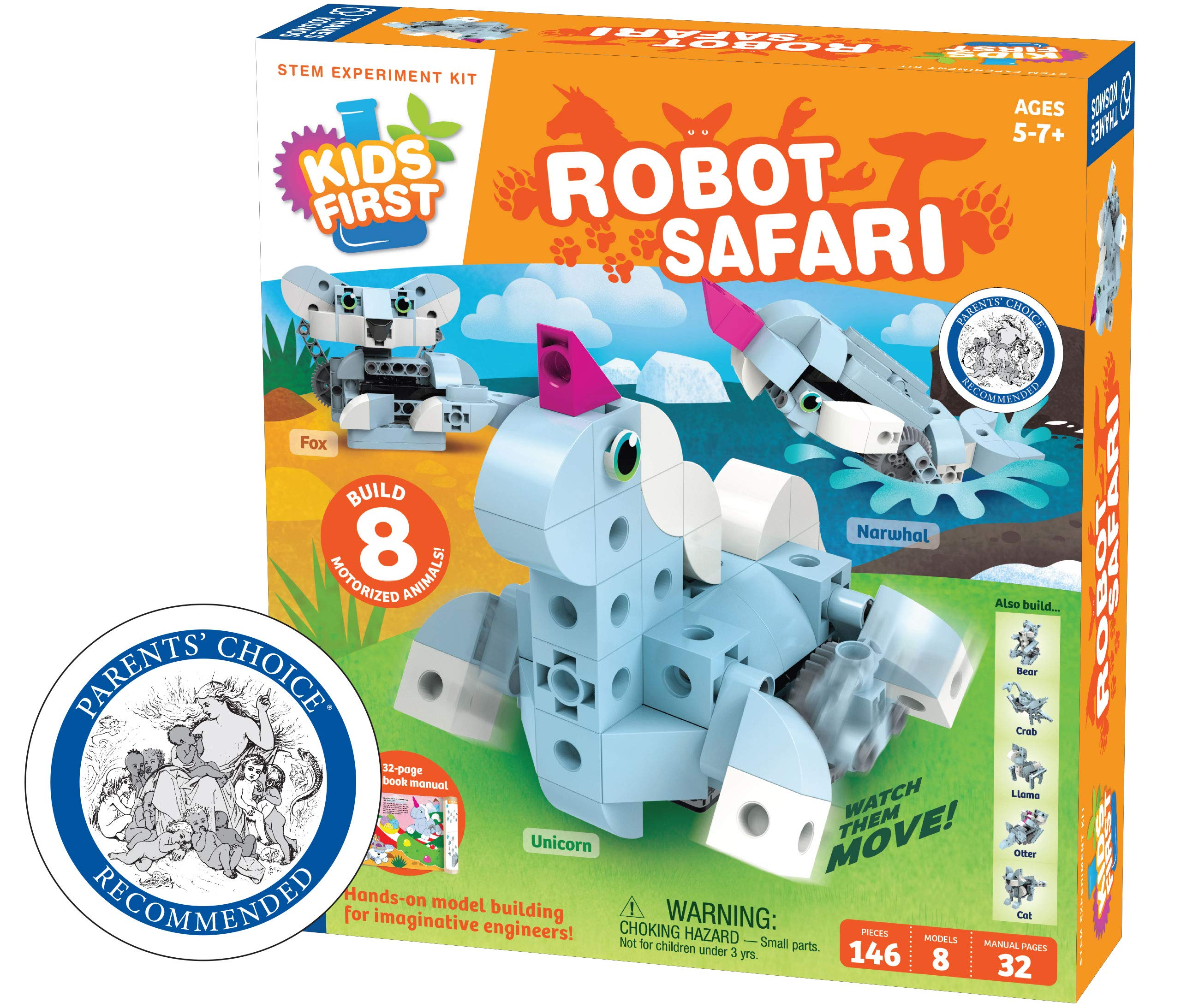 Thames & Kosmos Kids First: Robot Safari - Introduction to Motorized Machines Science Experiment Kit for Ages 5 to 7, Build 8 Robotic Animals Including A Unicorn, Llama, Narwhal & More by Thames & Kosmos