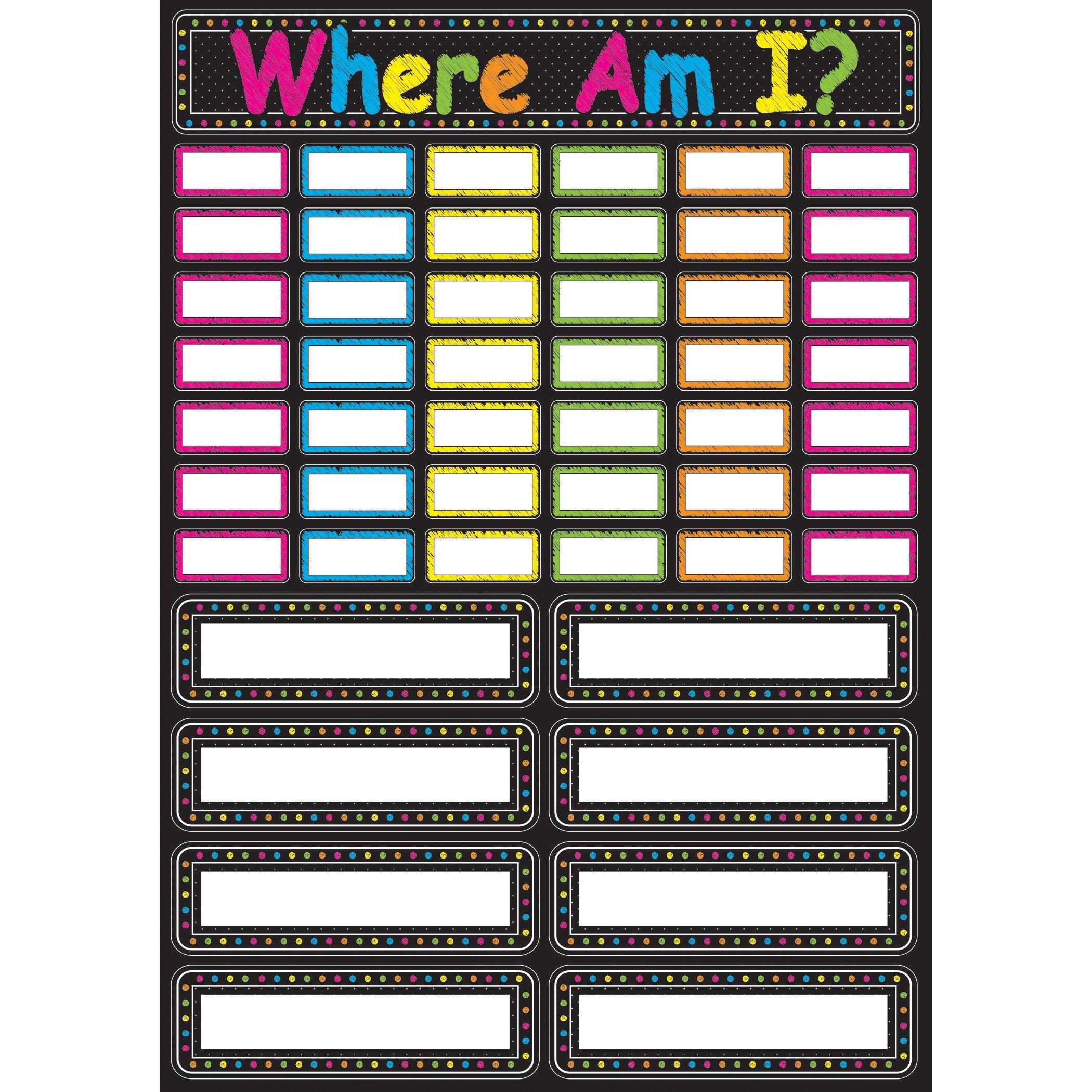 Ashley Productions Scribble Chalk Where Am I Magnetic Mini Bulletin Board Set, 12'' x 17''