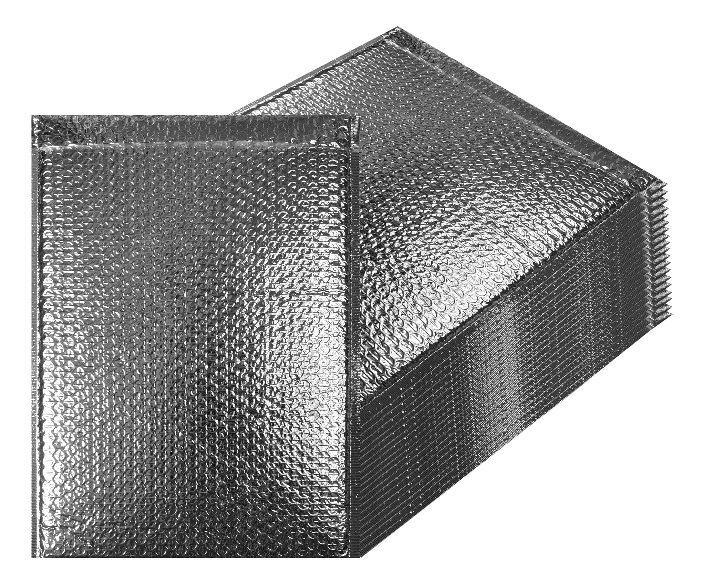 Thermal Insulated Bubble Mailers 12x17 Food Grade Padded envelopes 12 x 17 by Amiff. Pack of 10 Silver Cushion envelopes. Peel and Seal. Metallic foil. Mailing, Shipping, Packing, Packaging.