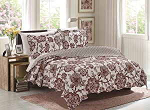 Glory Home Design 3 Piece Jessica Reversible Quilt Set, Queen, Burgundy