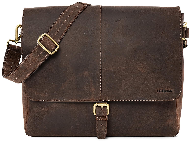 LEABAGS GLENDALE Vintage Genuine Leather Unisex Shoulder Satchel Messenger Bags, Muskat