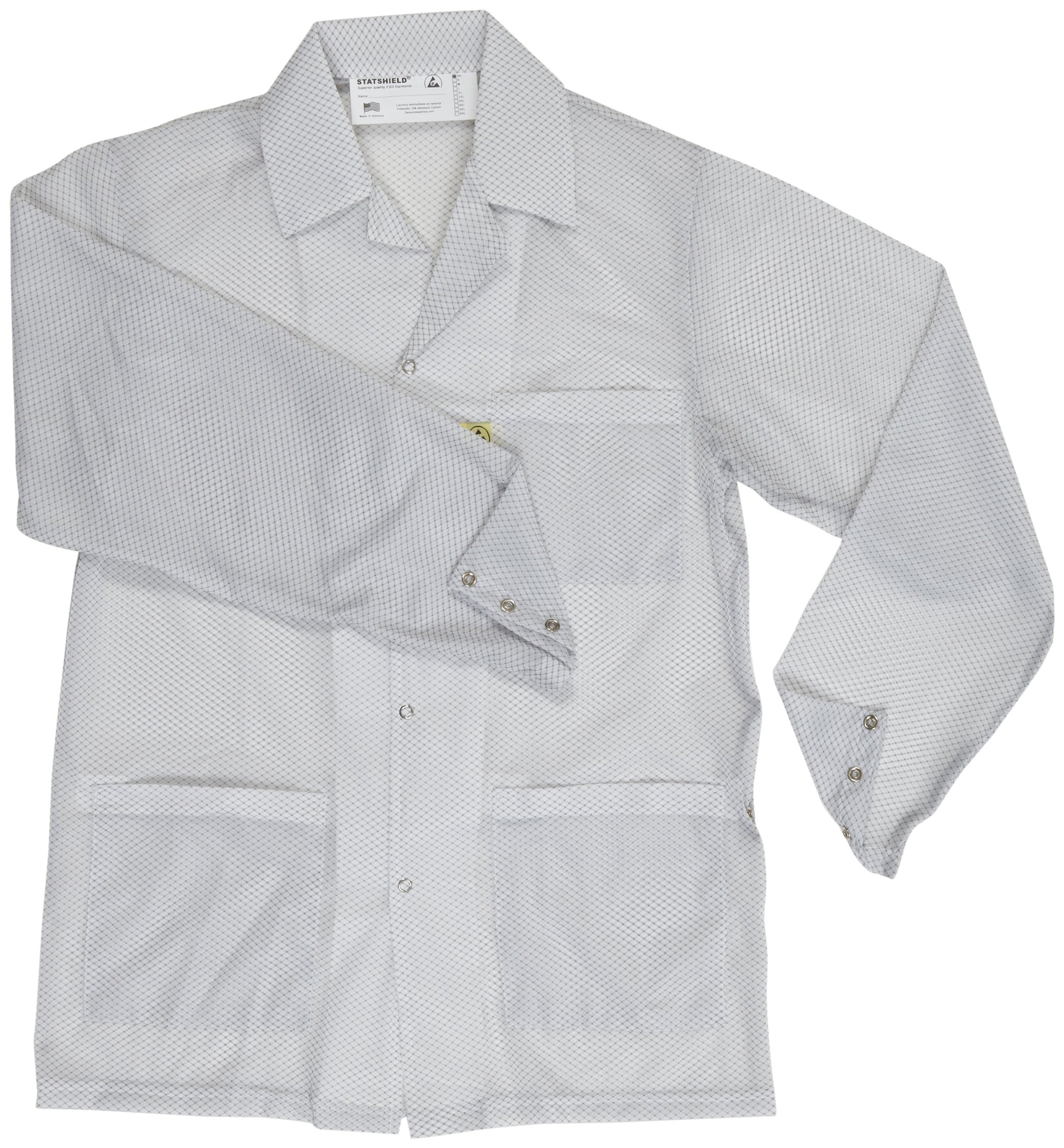 DESCO 73626 Polyester Smock Statshield Labcoat with Snaps, 41'' Length, 3X-Large, White