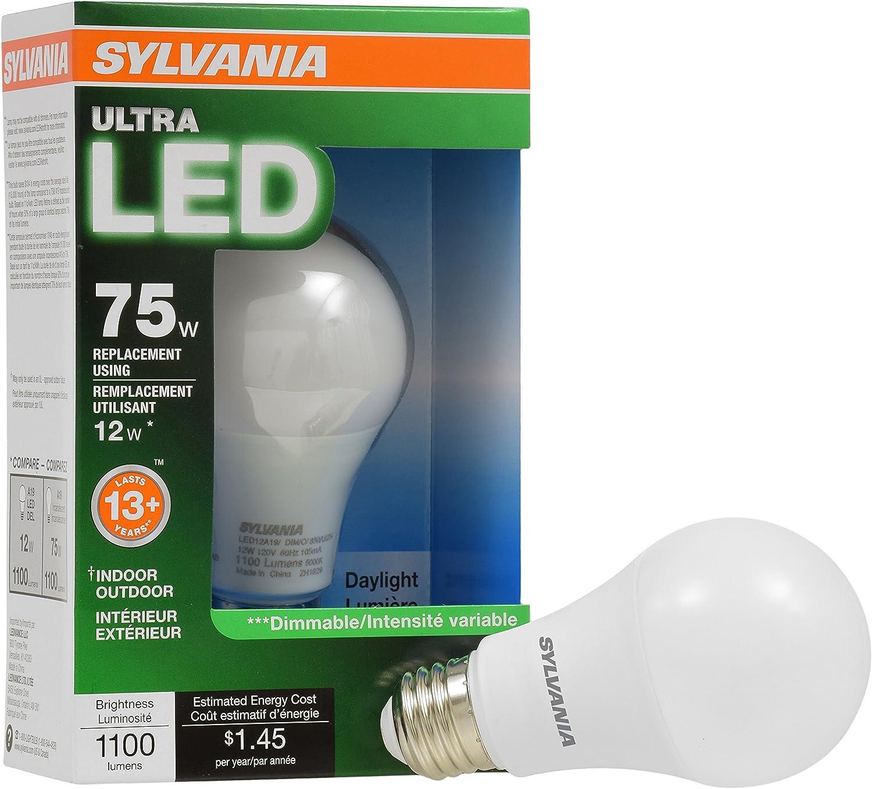 SYLVANIA General Lighting 74428 Sylvania Dimmable Led Light Bulb, 12 W, 120 V, 1100 Lumens, 5000 K, CRI 80, 2.375 in Dia X 4.42 in L