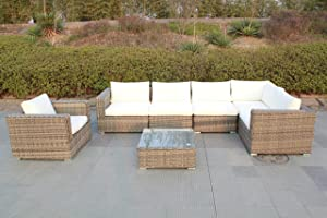husen Outdoor Furniture Patio Sofa 7 Piece Sectional Table Chair Wicker (7pcs Beige White)
