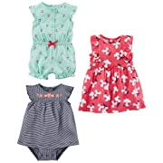 Simple Joys by Carter's Baby Girls' 3-Pack Romper, Sunsuit and Dress, Mint Cherries/Navy Stripe/Pink Floral, 18 Months