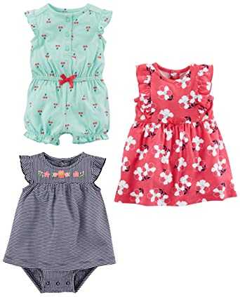 122b148cff92 Simple Joys by Carter's Baby Girls' 3-Pack Romper, Sunsuit and Dress,