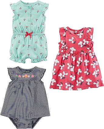 Simple Joys by Carter's Baby Girls paquete de 3 pelele, traje de sol y vestido
