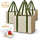 4cleanliving Reusable Shopping Bag Boxes | Set of 3 Reusable Grocery Totes | Premium Foldable Washable Sturdy Heavy Duty | Environment-Friendly | BONUS 2 Mesh Produce Bags