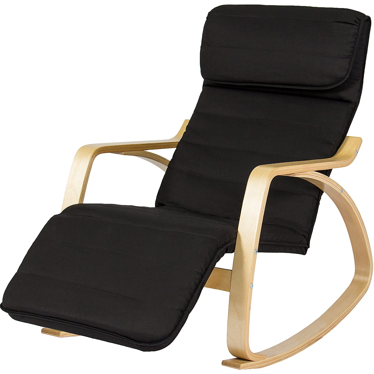 Amazon.com BCP Wood Recliner Rocking Chair W/ Adjustable Foot Rest Comfy Relax Lounge Seat Home u0026 Kitchen  sc 1 st  Amazon.com & Amazon.com: BCP Wood Recliner Rocking Chair W/ Adjustable Foot ... islam-shia.org