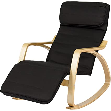 BCP Wood Recliner Rocking Chair W/Adjustable Foot Rest Comfy Relax Lounge  Seat