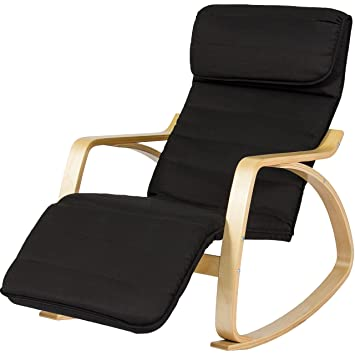 Exceptionnel BCP Wood Recliner Rocking Chair W/ Adjustable Foot Rest Comfy Relax Lounge  Seat