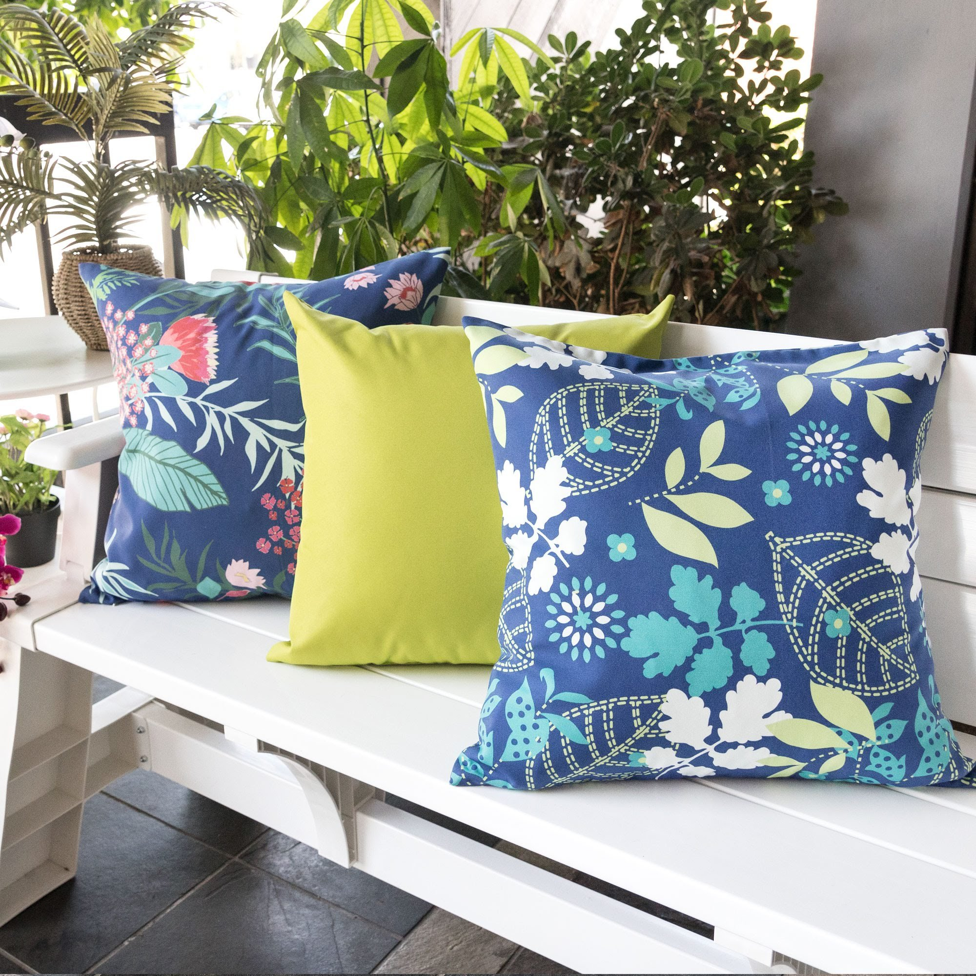 Homey Cozy Outdoor Accent Pillow Cover,Tropical Garden Large Water/UV/Stain-Resistance Decorative Replacement Cushion Cover 20x20, Cover Only