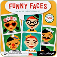 Petit Collage PTC268 Silly Funny Faces Magnetic On-The-Go Travel Play Set, Multicolor
