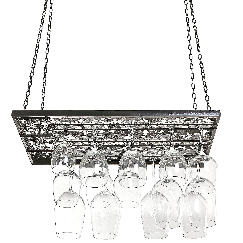 Hanging Wine Glass Rack Ceiling Mount Stemware Bottle
